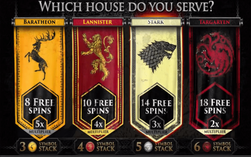 Free Spins round in Game of Thrones