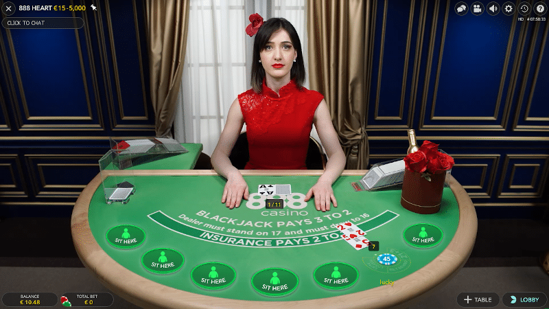 Live Blackjack table