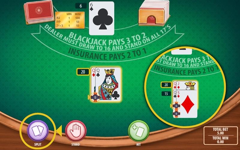 Online Blackjack Split option
