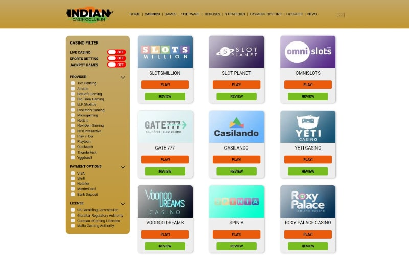 Indian Casino Club recommended casinos