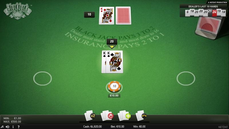 NetEnt Blackjack table